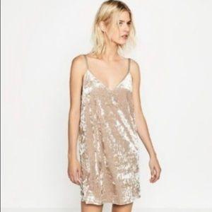 Zara crushed velvet slip dress